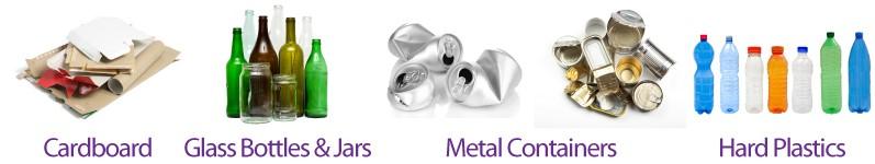 Cardboard, Glass Bottles & Jars, Metal Containers, Hard Plastics